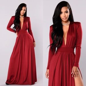 Burgundy Double Leg Slit Gown